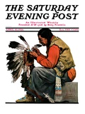 """Indian Headdress,"" Saturday Evening Post Cover, April 10, 1926 Reproduction procédé giclée par Edgar Franklin Wittmack"