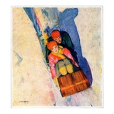 """Couple on Toboggan,""January 1, 1929 Giclee Print by McClelland Barclay"