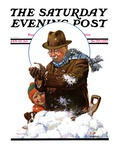 &quot;Snowball Fight,&quot; Saturday Evening Post Cover, January 25, 1930 Giclee Print by J.F. Kernan