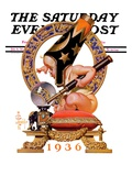 """Baby New Year and Crystal Ball,"" Saturday Evening Post Cover, January 4, 1936 Giclee Print by J.C. Leyendecker"