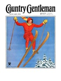"""Woman Ski Jumper,"" Country Gentleman Cover, January 1, 1934 Giclee Print by Carolyn Haywood"