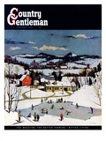 """Skating on Farm Pond,"" Country Gentleman Cover, January 1, 1950 Giclee Print by Paul Sample"
