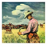 """Herding Cattle,""January 1, 1942 Giclee Print by George Schreiber"