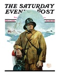 """Storm at Sea,"" Saturday Evening Post Cover, November 6, 1926 Reproduction procédé giclée par Edgar Franklin Wittmack"