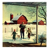 """Bringing in Firewood,""January 1, 1948 Giclee Print by Francesco Delle Donne"