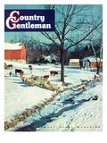 """""""Snowy Barnyard,"""" Country Gentleman Cover, February 1, 1948 Gicléedruk van J.c. Allen"""