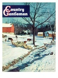 """Snowy Barnyard,"" Country Gentleman Cover, February 1, 1948 Giclee Print by J.c. Allen"
