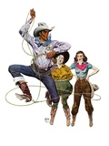 """Lasso Tricks,""July 29, 1939 Giclee Print by Floyd Davis"