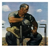 """Farmer on Tractor,""May 1, 1944 Giclee Print by Robert Riggs"