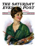 """Woman Artist and Her Palette,"" Saturday Evening Post Cover, April 28, 1928 Giclee Print by William Haskell Coffin"