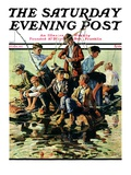 """Raft Fishing,"" Saturday Evening Post Cover, July 30, 1927 Giclee Print by Eugene Iverd"