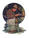 """Tying on a Fly,""May 25, 1929 Giclee Print by J.F. Kernan"