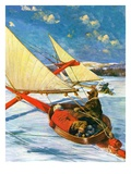 """Ice Boating,""February 1, 1929 Giclee Print by Anton Otto Fischer"