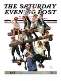 """Baseball Fans,"" Saturday Evening Post Cover, October 1, 1927 Giclee Print by Eugene Iverd"