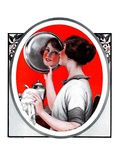 """Woman Reflected in Silver Tray,""March 1, 1924 Giclee Print by Katherine R. Wireman"