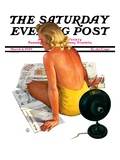 """Sunlamp,"" Saturday Evening Post Cover, March 4, 1939 Giclee Print by Robert P. Archer"