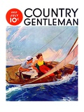 """Couple Sailing,"" Country Gentleman Cover, July 1, 1937 Giclee Print by R.J. Cavaliere"
