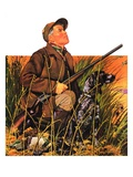 """Hunter and Dog in Field,""November 9, 1935 Giclee Print by J.F. Kernan"
