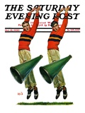 """Cheerleaders,"" Saturday Evening Post Cover, October 18, 1930 Giclee Print by Sam Brown"