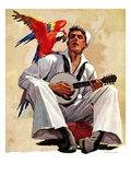 """Singing Sailor and Parrot,""October 16, 1937 Giclee Print by John E. Sheridan"