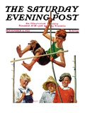 """Pole Vault,"" Saturday Evening Post Cover, September 3, 1927 Giclee Print by George Brehm"