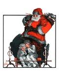 """Santa Overhears,""December 22, 1923 Giclee Print by F. Lowenheim"