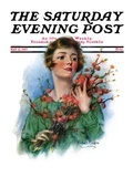 """Woman and Flowering Twigs,"" Saturday Evening Post Cover, May 21, 1927 Giclee Print by William Haskell Coffin"
