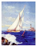 """Sailing by the Lighthouse,""August 1, 1938 Giclee Print by Albert B. Marks"