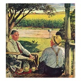 """Summer on the Farmhouse Porch,""August 1, 1947 Giclee Print by W.C. Griffith"