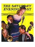 """Big Band and Songstress,"" Saturday Evening Post Cover, April 15, 1939 Giclee Print by Emery Clarke"
