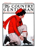 """Lacing Her Skates,"" Country Gentleman Cover, January 10, 1925 Giclee Print by Remington Schuyler"
