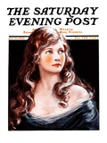 &quot;Woman with Longs Curls,&quot; Saturday Evening Post Cover, January 10, 1925 Giclee Print by Arthur Garratt