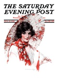 &quot;Japanese Parasol,&quot; Saturday Evening Post Cover, August 15, 1925 Giclee Print by J. Knowles Hare