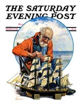 &quot;Model Three Masted Ship,&quot; Saturday Evening Post Cover, September 17, 1927 Giclee Print by J.F. Kernan