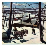"""Maple Sap Harvest at Dusk,""March 1, 1942 Giclee Print by Paul Sample"
