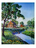 """Houses by Stream,""June 1, 1939 Giclee Print by Walter Baum"