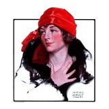 """Woman in Fur and Red Hat,""October 13, 1923 Giclee Print by WM. Hoople"