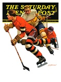 """Ice Hockey Match,"" Saturday Evening Post Cover, January 18, 1936 Giclee Print by Maurice Bower"