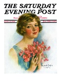 &quot;Woman and Flowers,&quot; Saturday Evening Post Cover, June 12, 1926 Giclee Print by William Haskell Coffin