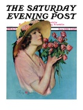 """Pink Rose Bouquet,"" Saturday Evening Post Cover, June 18, 1927 Giclee Print by Penrhyn Stanlaws"
