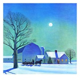 """Moonlit Sleighride,""December 1, 1943 Giclee Print by Kent Rockwell"