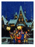 """Christmas Carolling in Village at Night,""December 1, 1930 Giclee Print by Nelson Grofe"