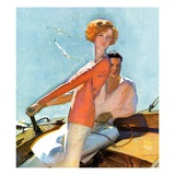 """Couple Sailing,""August 1, 1927 Giclee Print by McClelland Barclay"