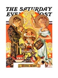 """""""Silent Night,"""" Saturday Evening Post Cover, December 28, 1935 Giclee Print by J.C. Leyendecker"""