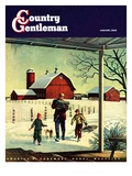 """Bringing in Firewood,"" Country Gentleman Cover, January 1, 1948 Giclee Print by Francesco Delle Donne"