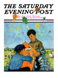 """Patching a Kite,"" Saturday Evening Post Cover, September 15, 1928 Giclee Print by Eugene Iverd"