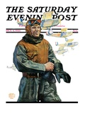 """""""Biplane Pilot,"""" Saturday Evening Post Cover, October 9, 1926 Giclee Print by Edgar Franklin Wittmack"""