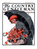 """April Showers and Basket of Flowers,"" Country Gentleman Cover, April 26, 1924 Giclee Print by E. Troth"