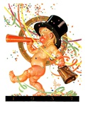 """Baby New Year Celebrates,""January 2, 1937 Giclee Print by Joseph Christian Leyendecker"