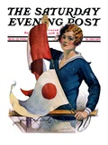 &quot;Woman and Signal Flags,&quot; Saturday Evening Post Cover, August 21, 1926 Giclee Print by Charles A. MacLellan